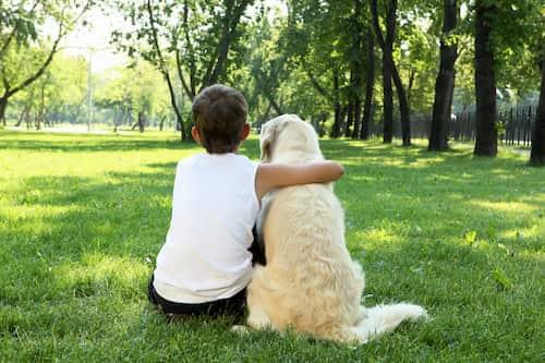 Junge mit seinem Hund in London