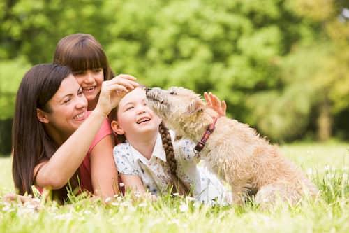 Familie mit ihrem Hund