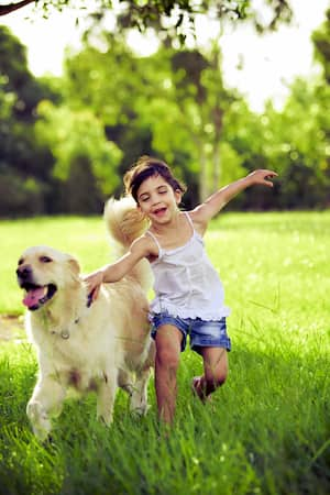 ein Mädchen mit Golden Retriever Hund
