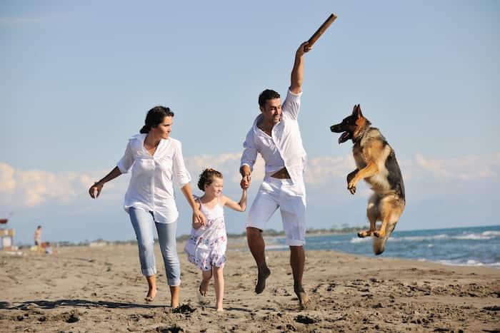 Spanische Familie mit ihrem Hund am Strand